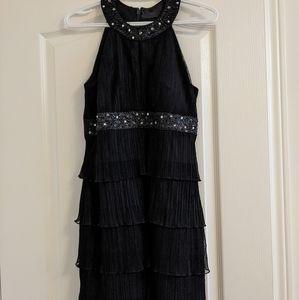 Beaded Halter Neck Fitted Little Black Dress